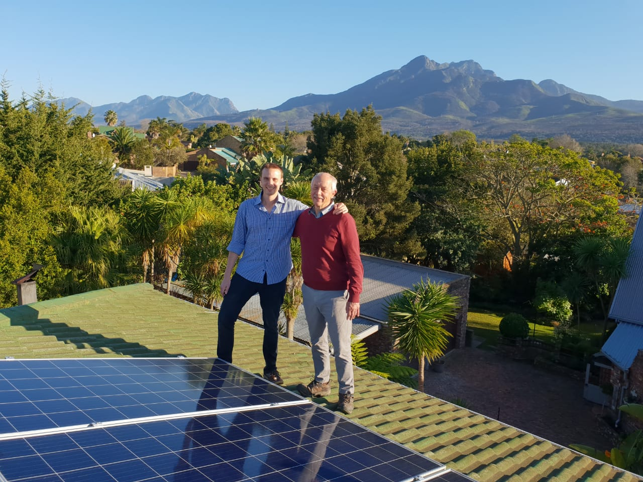 Sunvolt solar energy founders at a solar energy installation in George